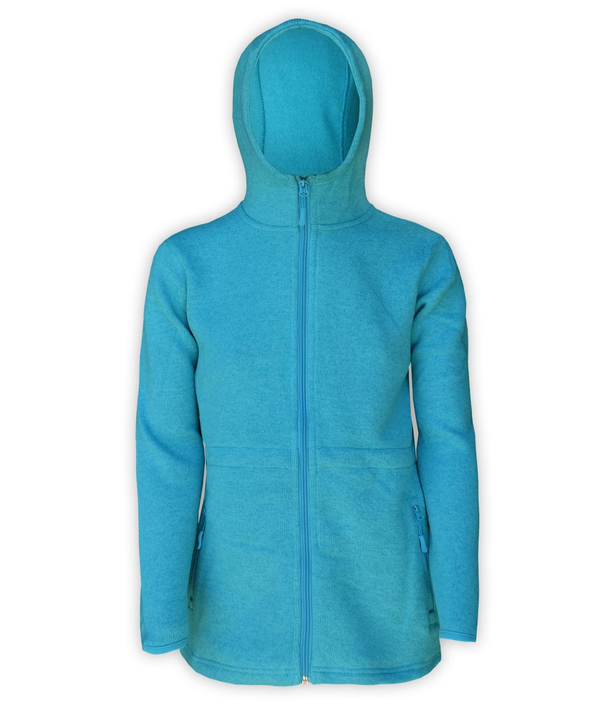renegade club, womens fleece aqua jacket, hooded, zipper, bungee cords, blue