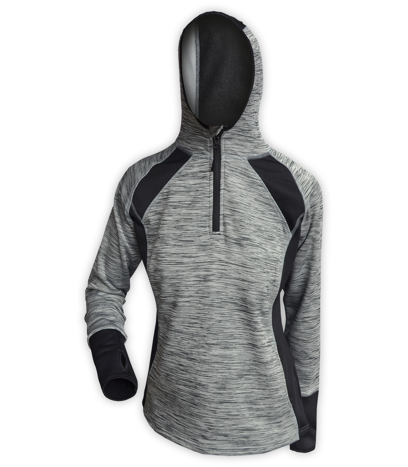 gray sports womens hoodie pullover quarter zip for embroidery wholesale