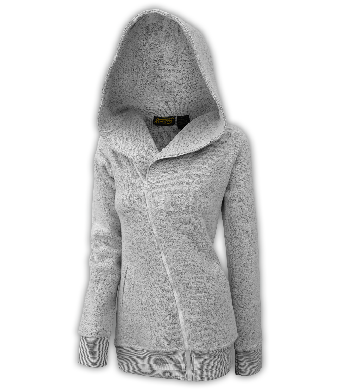 renegade club womens fleece jacket, diagonal full zipper, nantucket fleece, oversized hood, salt and pepper, white, gray