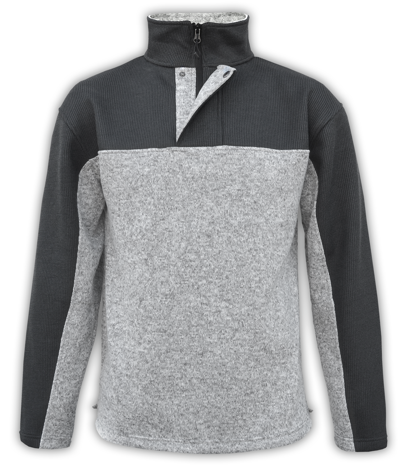 Renegade-club-mens-half-zip-placket-fleece-pullover-coarse-weave-north-shore-salt-and-pepper-gray-black-soft-mens fleece jacket-2-color
