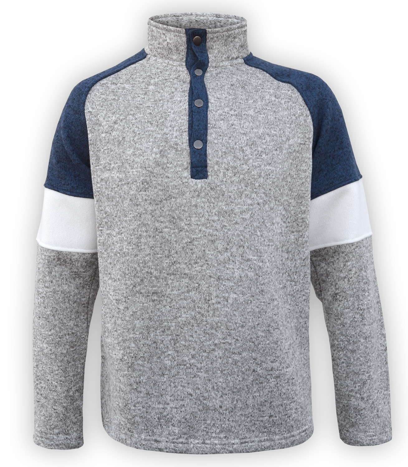 renegade men's north shore fleece snap pullover, tricolor, blue denim, gray sweater, slat & pepper, stand up collar,
