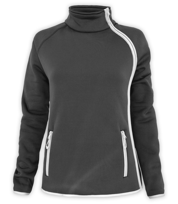 renegade club full zip fleece jacket, stylish modern side zip fleece jacket, zipper pockets, stand up collar, black, white zipper long sleeve