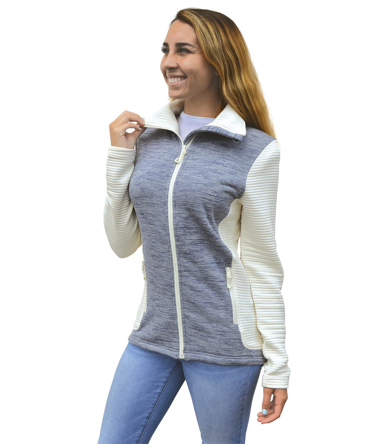 renegade power stretch 3d fleece jacket, collar, cream, white blanks for embroidery wholesale