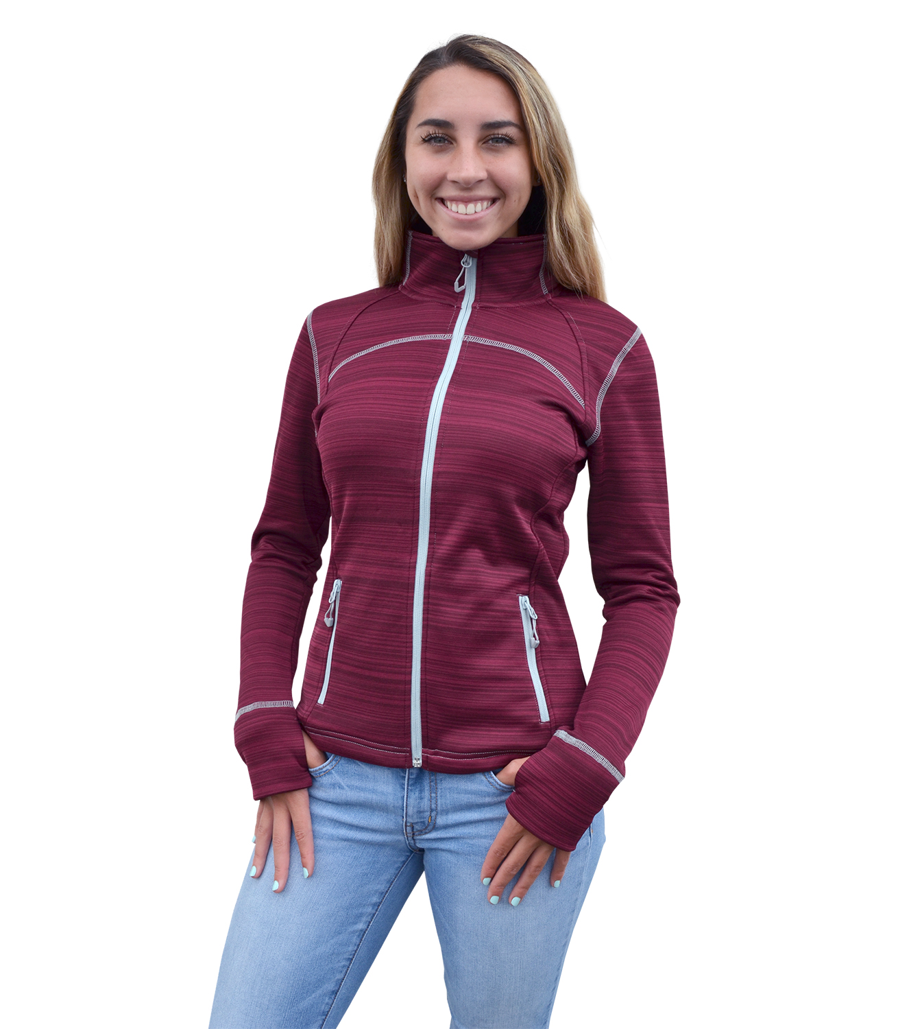 Renegade club women full zip power stretch jacket, zipper, red, blanks for embroidery