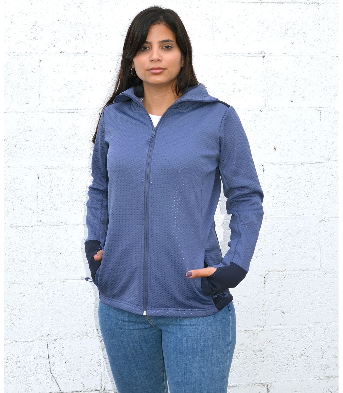 womens embossed fleece 2 tone full zip jacket blank for embroidery